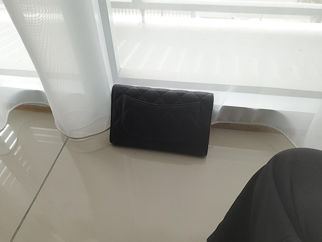 Classic Long Flap Wallet (Caviar leather)
