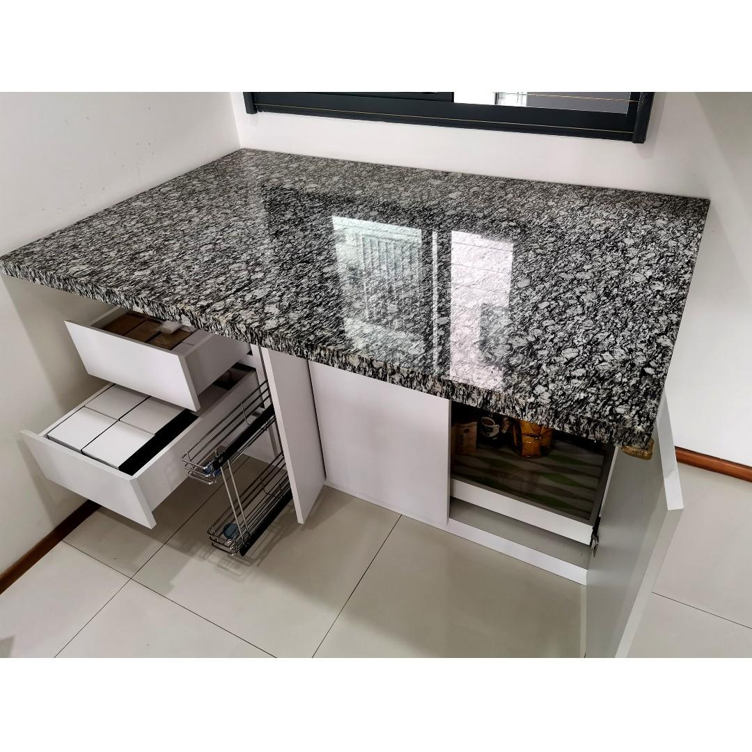Custom Made Kitchen Island Table With Marble Top Furniture Tables Chairs On Carousell