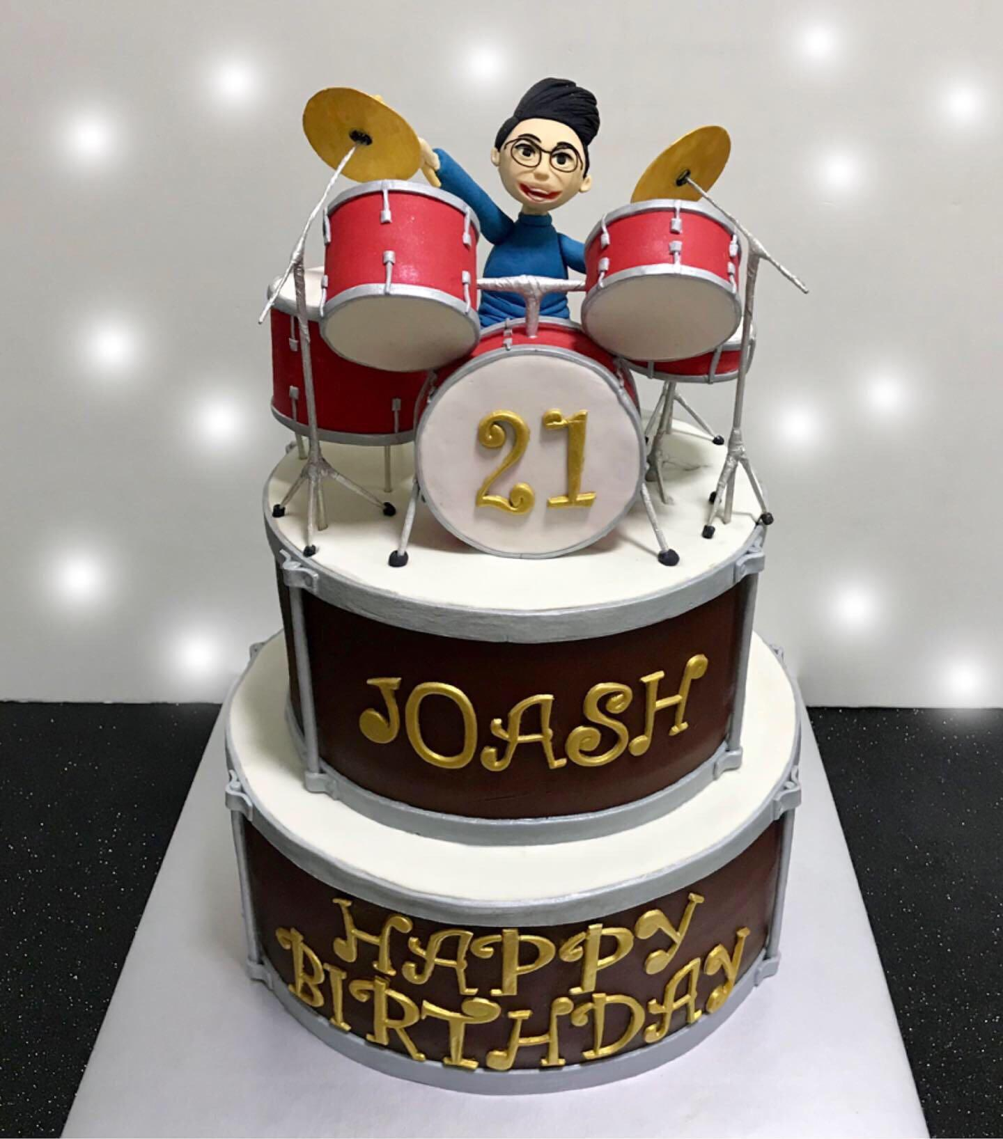 Phenomenal Customised 2 Tier Drum Set Birthday Cake Food Drinks Baked Funny Birthday Cards Online Bapapcheapnameinfo