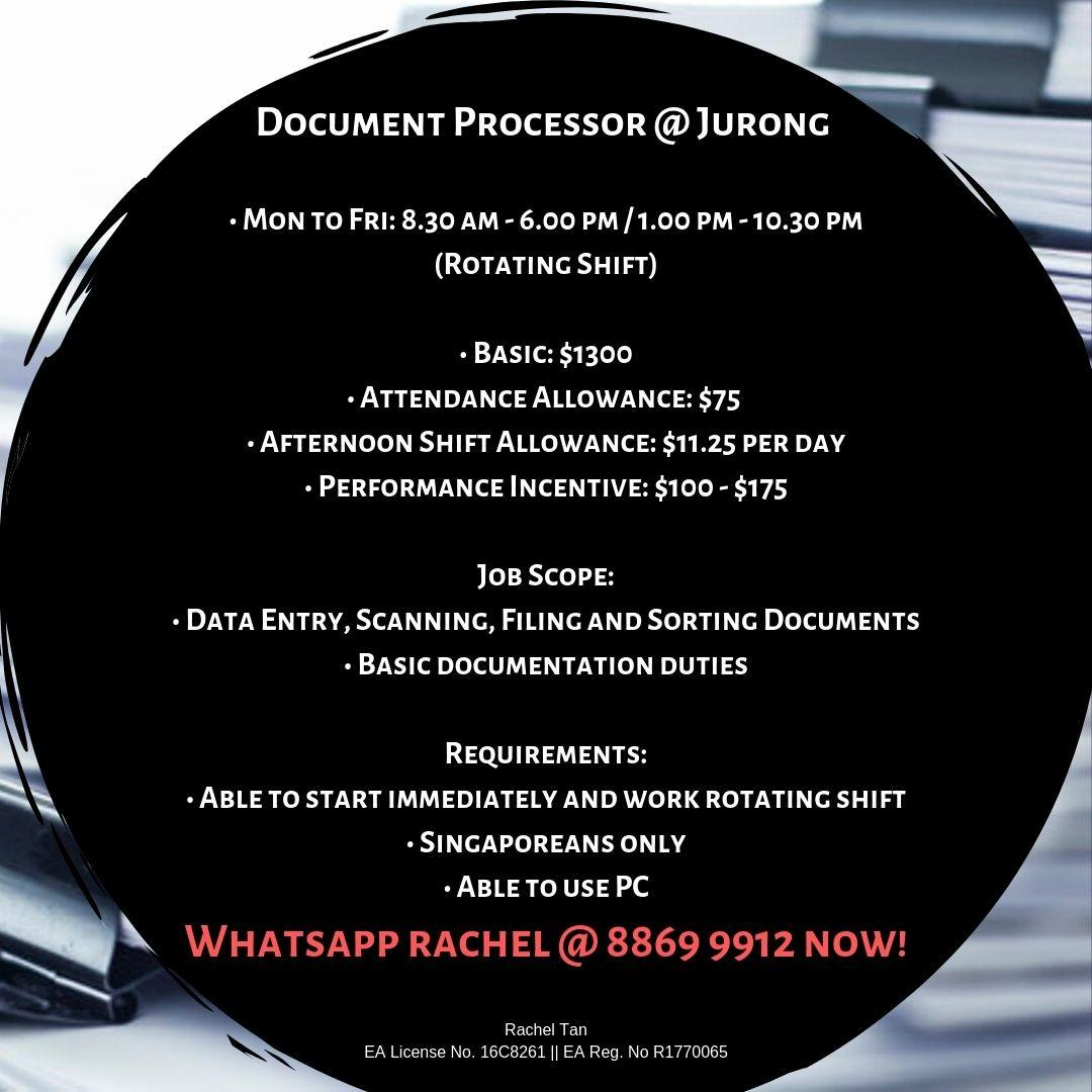 Document Processor @ Jurong (Up to $1500 with incentives)