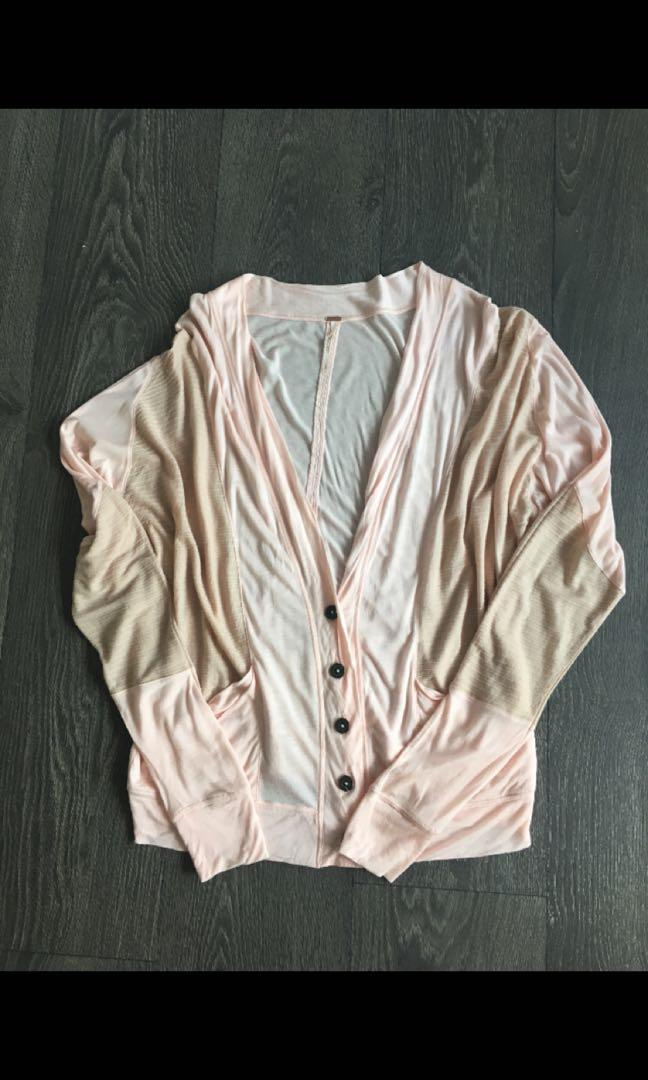 Free People Sweater Cardigan Size Small Pink Beige