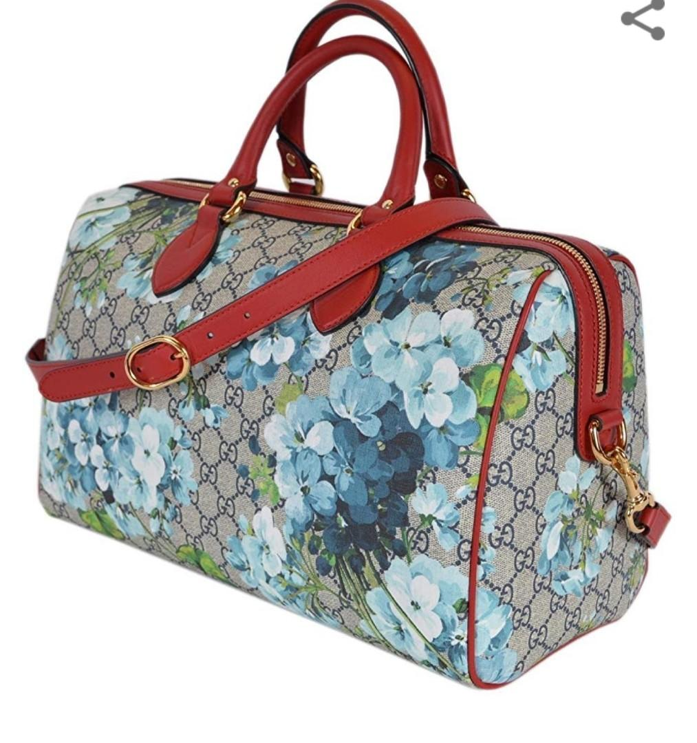 """GG Supreme Coated Canvas in Blooms Print, Detachable Shoulder Strap with a 19"""""""