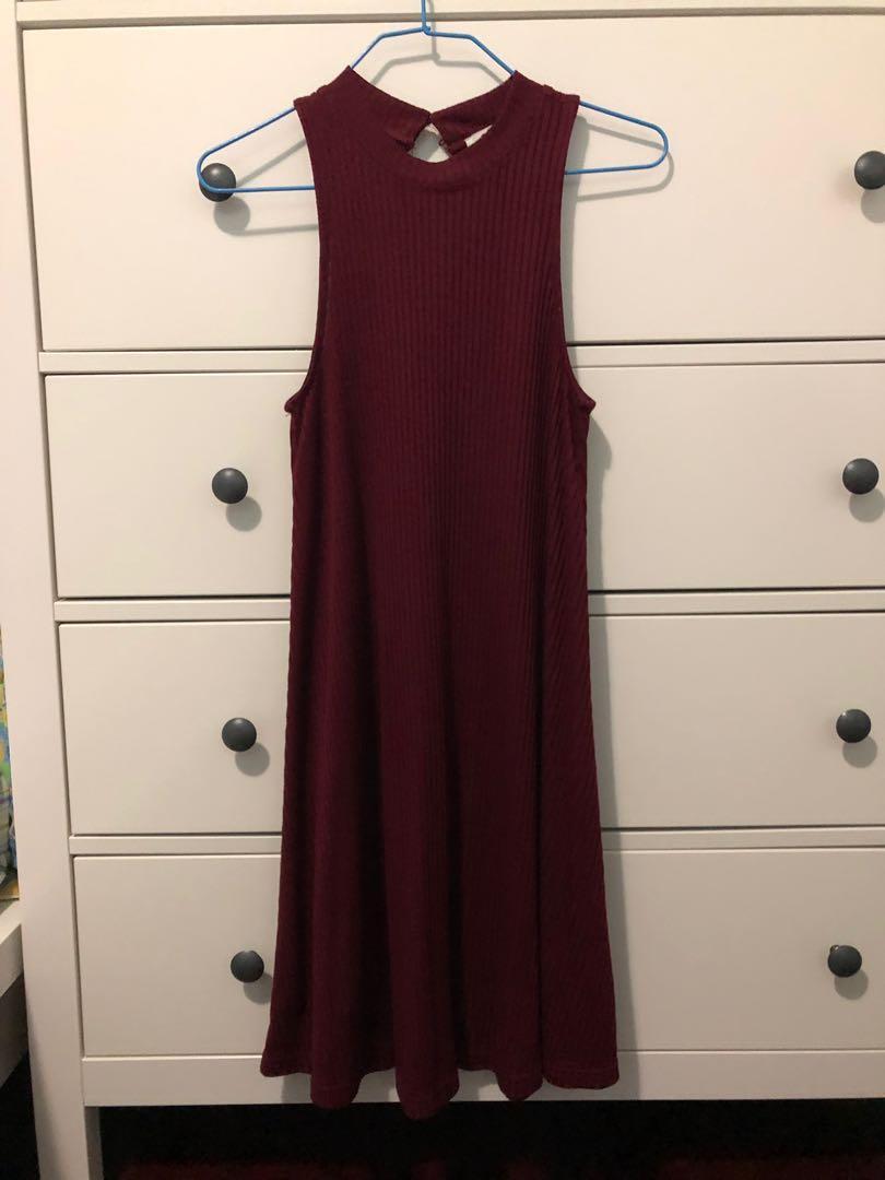Hollister Burgundy Knee Length Sleeveless Flare Dress