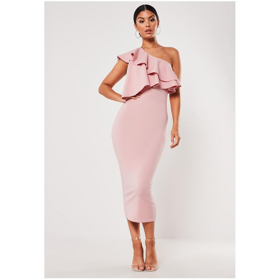MISSGUIDED Blush One Shoulder Ruffle Bodycon Midi Dress, Size 4
