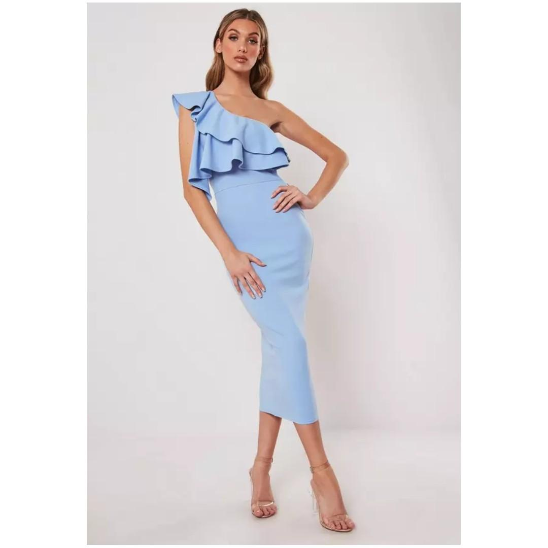 MISSGUIDED Light Blue One Shoulder Ruffle Bodycon Midi Dress, Size 4