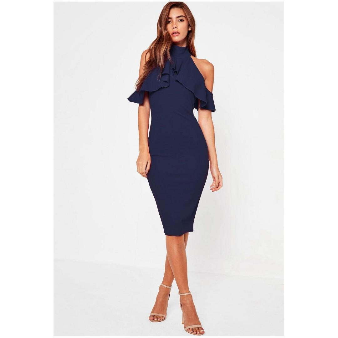 MISSGUIDED Navy Frill Cold Shoulder Bodycon Midi Dress, Size 4