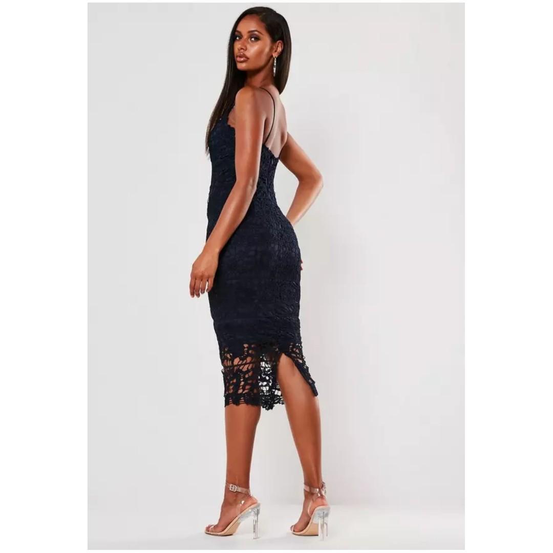 MISSGUIDED Premium Navy Crochet Lace Midi Dress, Size 4