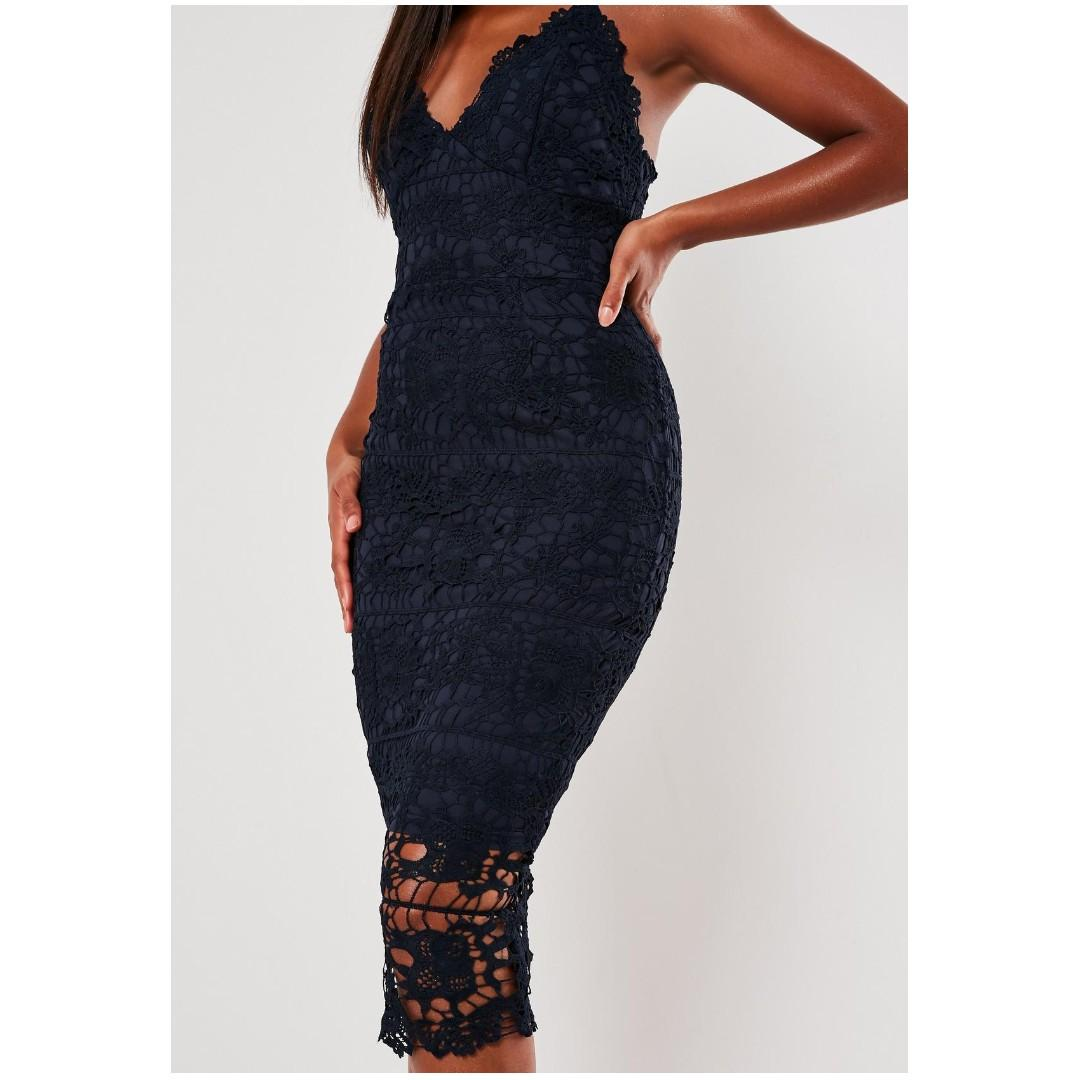 MISSGUIDED Premium Navy Crochet Lace Midi Dress, Size 4