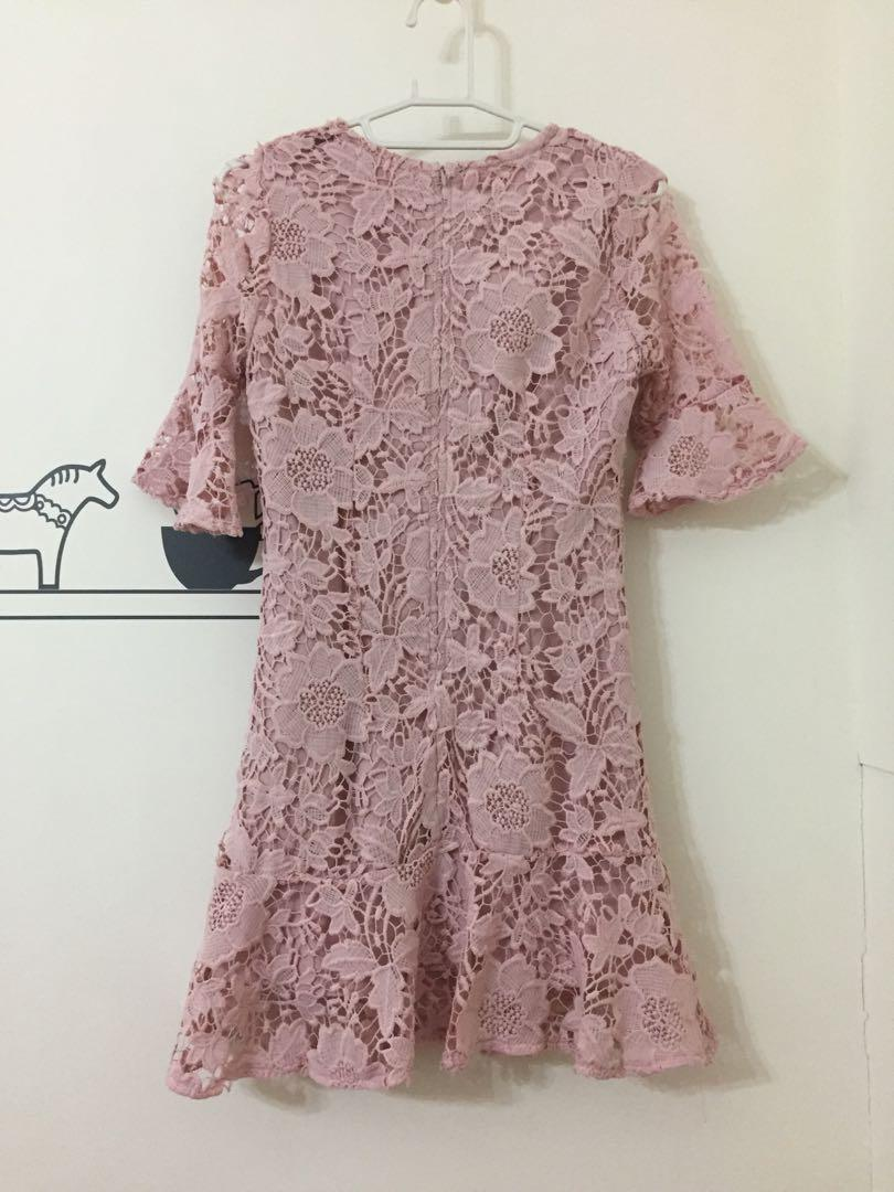 PAZZO 粉色全蕾絲氣質洋裝s號