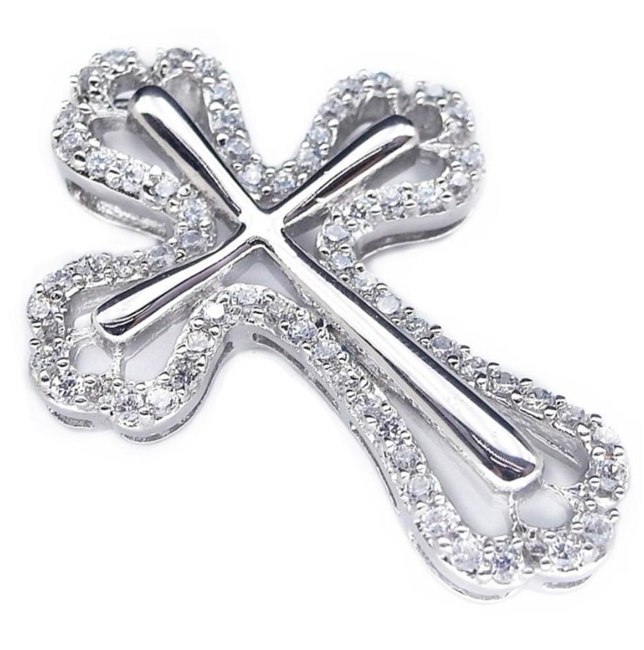 PENDANT GORGEOUS WHITE BIG CROSS CZ PLATED WHITE GOLD 925 STERLING PERAK ASLI IMPORT CASUAL LOKET ELEGANT