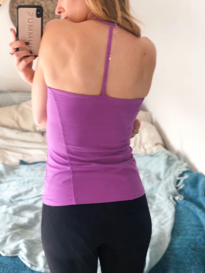 Purple Montiel Activewear top with built-in bra. Light support.