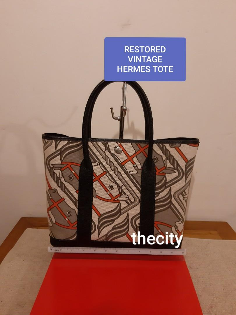 RESTORED HERMES EQUESTRIAN STEEPLE CANVAS TOTE BAG , (SHAPE DESIGN ABIT SIMILAR TO HERMES GARDEN PARTY BAG) - ALL LEATHER PARTS : HANDLES, TRIMS & BASE HAVE BEEN NEWLY REDONE AT BAG SPA - INTERIOR HAS ALSO BEEN RESTORED WITH VINYL WATERPROOF COATING  -