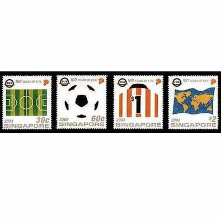 Singapore stamps 2004 FIFA Soccer MNH special felt material