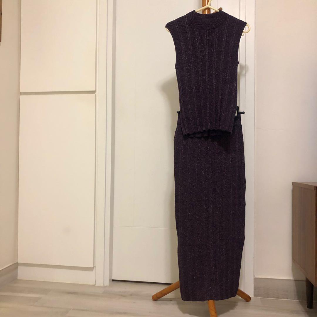 SLY紫色閃閃針織背心