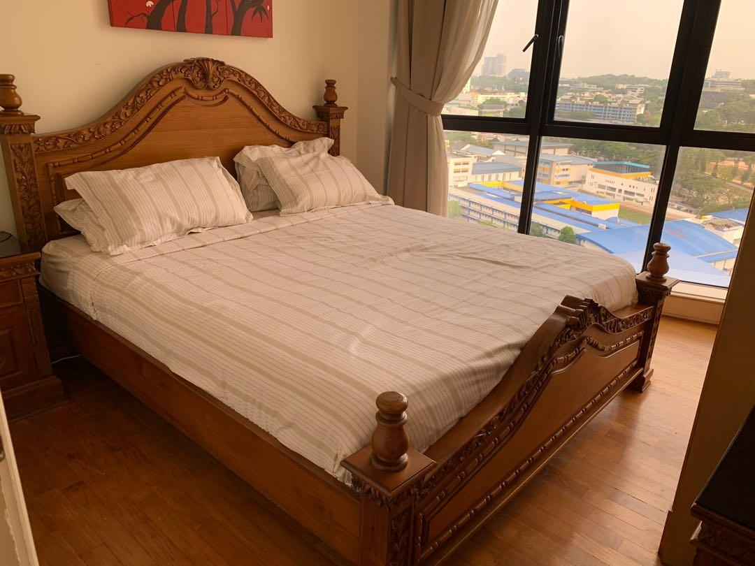 Solid High Quality Teak Wood King Size Bed And Side Table Furniture Beds Mattresses On Carousell