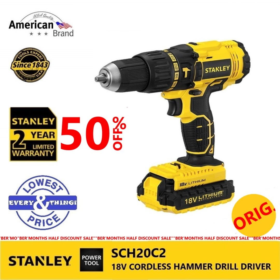 Stanley Sch20c2 Cordless Drill 18v Construction Industrial Construction Tools On Carousell