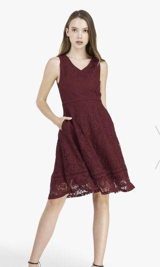 Elana Swing Midi Dress by Fayth (Burgundy)