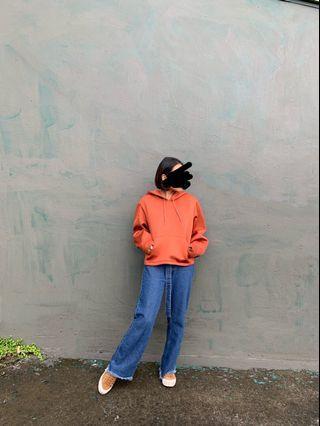 H&M橘紅太空棉帽T