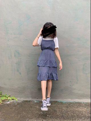 藍色蛋糕裙洋裝