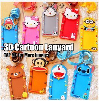 Children Day Gift, Cute Silicone 3D Cartoon Lanyard / ID Holder / Ez-Link card Holder / Name Tag / Stationery, Birthday, Christmas, Party, Gifts, Goodie Bag, Stitch, Hello Kitty, Cat, Doraemon, Melody, Rilakkuma, Chopper, Paul Frank, Totoro, Minion