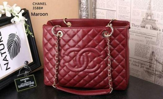 Chanel GST Lambskin Maroon with Gold Hardware