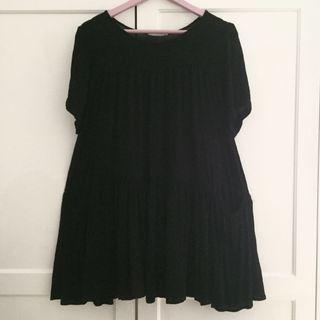 Mango Loose & Flare Black Dress
