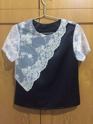 Black blouse w/ white detail