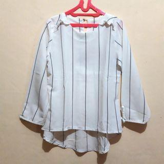 White Black Stripe Blouse Putih Hitam Atasan Wanita Lengan Panjang