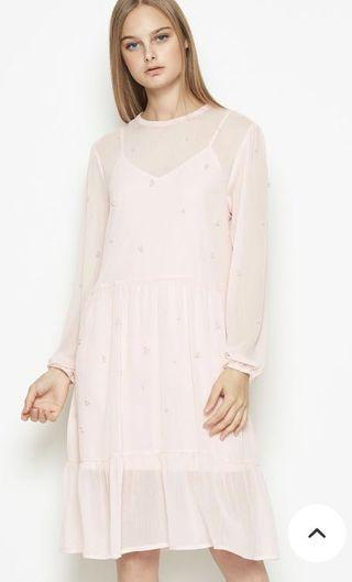 Light pink sheer dress with pearls and inner slip
