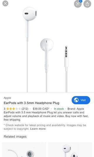 Authentic Apple 3.5mm headphones