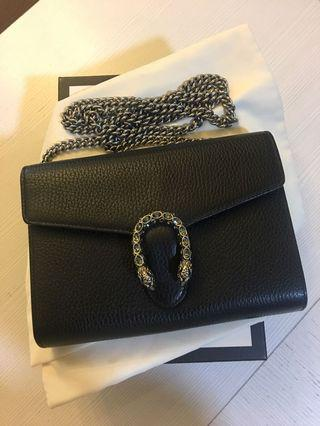 Gucci black Dionysus leather mini chain sling bag come with box, dustbag & copy receipt