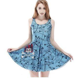 Blue wishbones dress