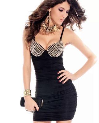 Dress bra spikes black