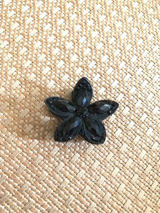 黑色花朵髮夾子