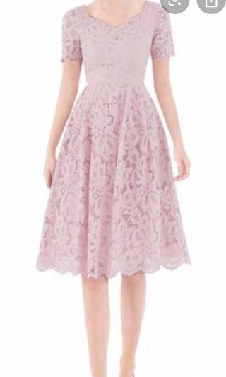 Doublewoot lace dress in blush