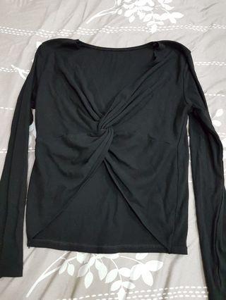 黑色棉質扭結短上衣