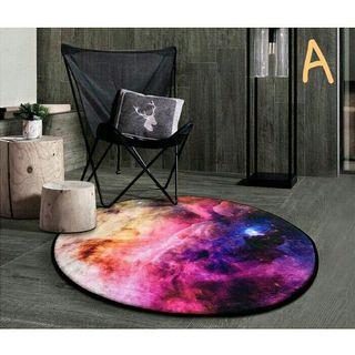 【全新】夢幻星球加厚圓形地毯 止滑地墊