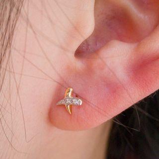 Two Tone Cross Diamond Earrings