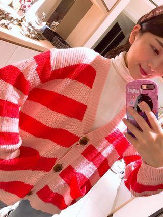 全新僅試穿✨粉紅色條紋針織罩衫