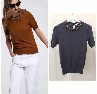 Zara Embellished Neck Top (S)