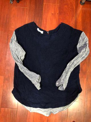 韓製 襯衫拼接毛衣