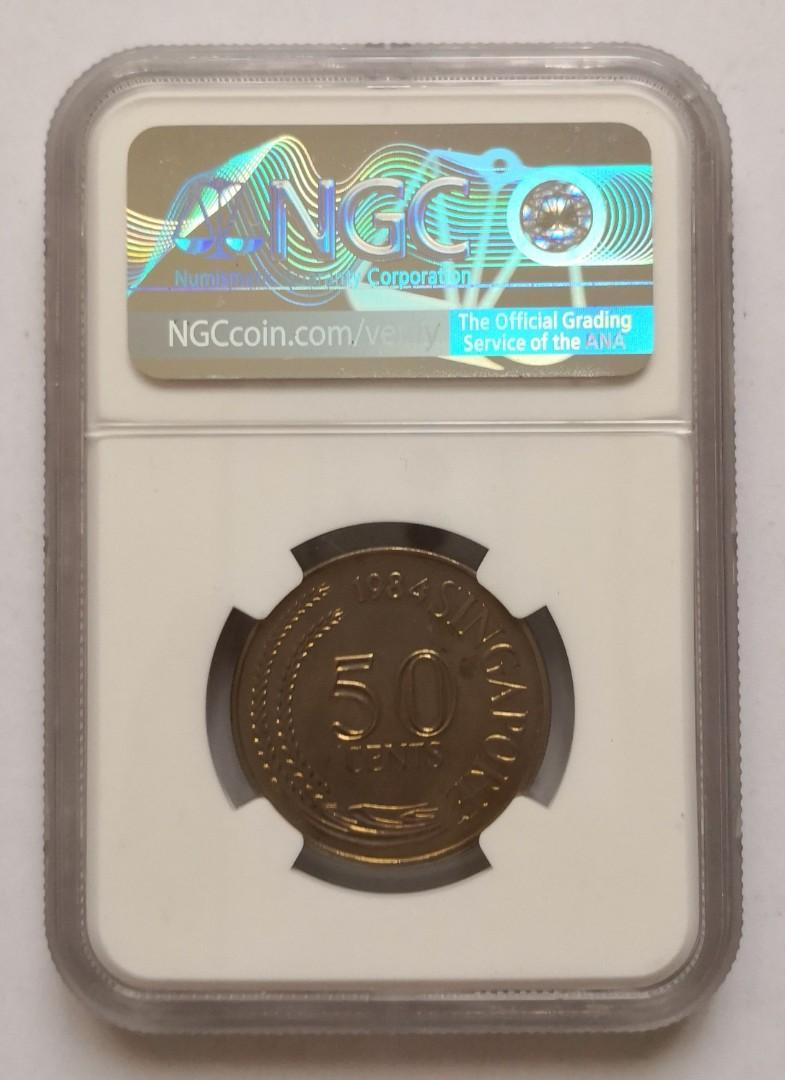 1984 Singapore 50c NGC MS66