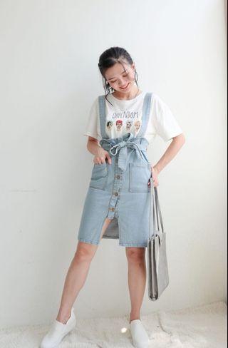 2 ways denim pinafore skirt/ pinafore