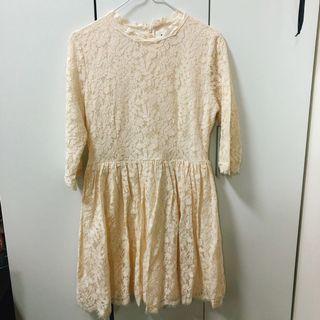 🔺PAZZO杏色蕾絲短洋裝