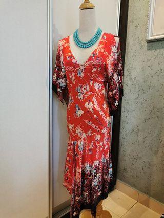 Deep V Red flowery dress
