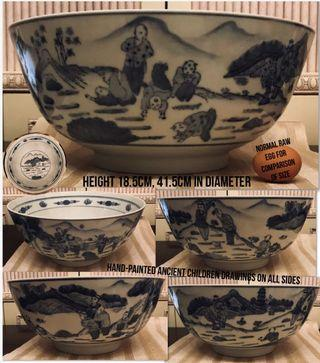 Antique 41.5cm-D BLUE & WHITE CHINOISERIE ancient Chinese hand-painted large Display Bowl