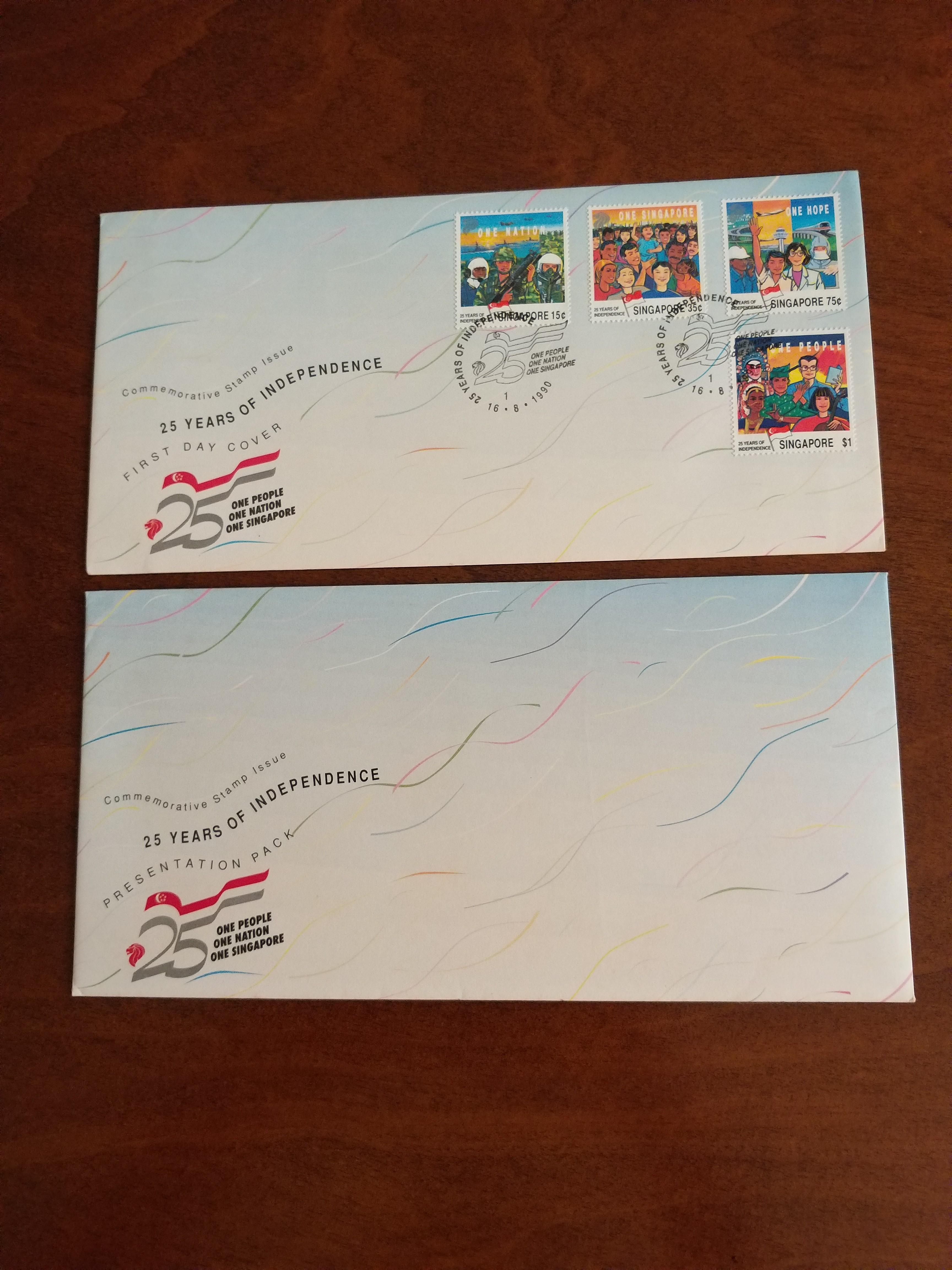 25 Years of Singapore's Independence : First Day Cover & Presentation Pack