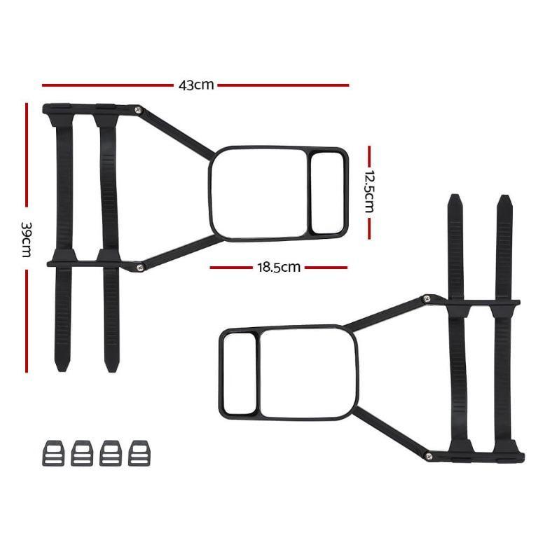 2x Towing Mirror Clip Universal Multi Trailer Caravan Car Truck Vehicle 4WD Pair
