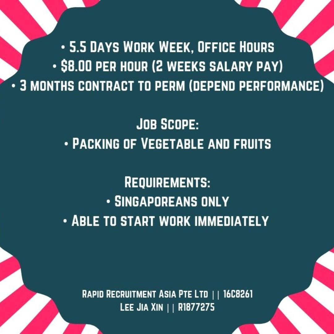 $8 per hour - Packer @ Boon Lay ( 5.5 Days)