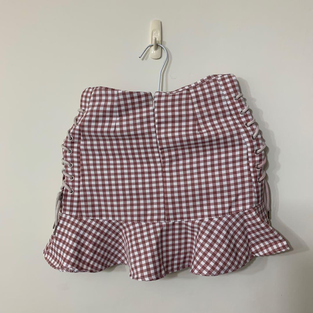 粉色格紋綁帶窄裙